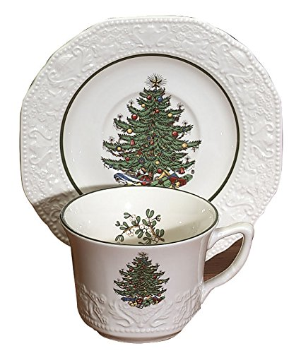 Cuthberston Original Christmas Tree Dickens Embossed, Teacup & Saucer, Square, Set of 4