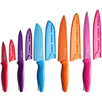 10-Piece Michelangelo Stainless Steel Colored Knife Set