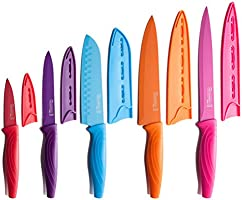 MICHELANGELO Colored Knife Set 10 Piece, High Carbon Stainless Steel Kitchen Knife Set, Ceramic Knife Set, Rainbow Knife...