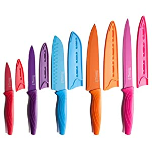 MICHELANGELO Colored Knife Set 10 Piece, High Carbon Stainless Steel Kitchen Knife Set, Ceramic Knife Set, Rainbow Knife Set, Colorful Knife Set- 5 Knives & 5 Knife Sheath Covers