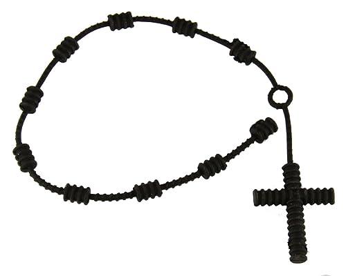 4031617 Juego de 2 negro de goma Decenario con nudos de pulseras pulsera de Cruz Rosario