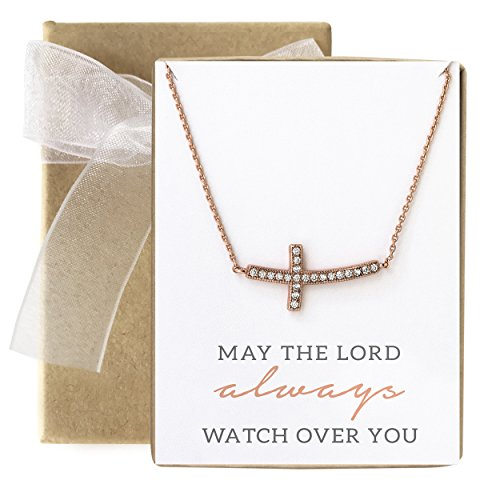 AMY O Sideways Cross Necklace in Rose Gold, Religious Gift