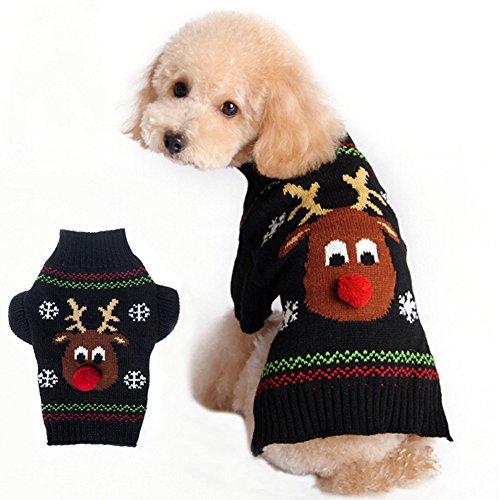 BOBIBI Dog Sweater for Christmas Cartoon Reindeer Pet Cat Winter Knitwear Warm Clothes Medium -