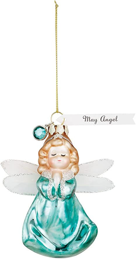 May Angel Emerald Green 4 X 4 Glass Christmas Hanging Figurine Ornament Amazon Ca Home Kitchen