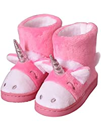 1b70f12af92b2 Boys  Girl s Winter Warm Plush Comfy Cute Cartoon Bedroom Bootie Slippers (Toddler Little