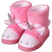 LA PLAGE Boys' Girl's Winter Warm Plush Comfy Cute Cartoon Bedroom Bootie Slippers(Toddler/Little Kid)