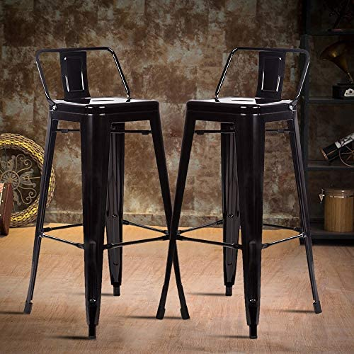 Counter Bar Stools Industrial Set of 2 Cafe Farmhouse Bistro Metal Chair