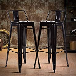 Farmhouse Barstools Counter Bar Stools Industrial Set of 2 Cafe Farmhouse Bistro Metal Chairs with Back Stackable Tolix-Style Modern… farmhouse barstools