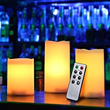 Kohree 3 Pack of white Flameless Pillar Candles with Remote and Timer 8 function remote,Battery Operated LED Pillar Candles