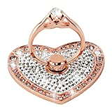 Nsiucion Phone Ring Stand Holder, Heart Crystal Diamond Rhinestone Glitter Sparkle Universal 360