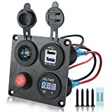 Iztor Dual 3.1A USB Charger + Digital blue Voltmeter + 12V led Power Socket Outlet + ON-OFF Button Switch 4 Hole aluminum Panel for Car Boat Marine Truck RV ATV Vehicles GPS Mobile Phone