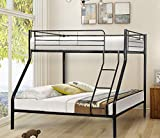 Harper&Bright Designs Twin Over Full Metal Bunk Bed with Ladder and Safety Rails (Black)