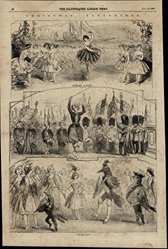 Pantomimes Costumes (Dancers Ballet Pantomimes Bird Costumes nice 1856 great antique Travel print)