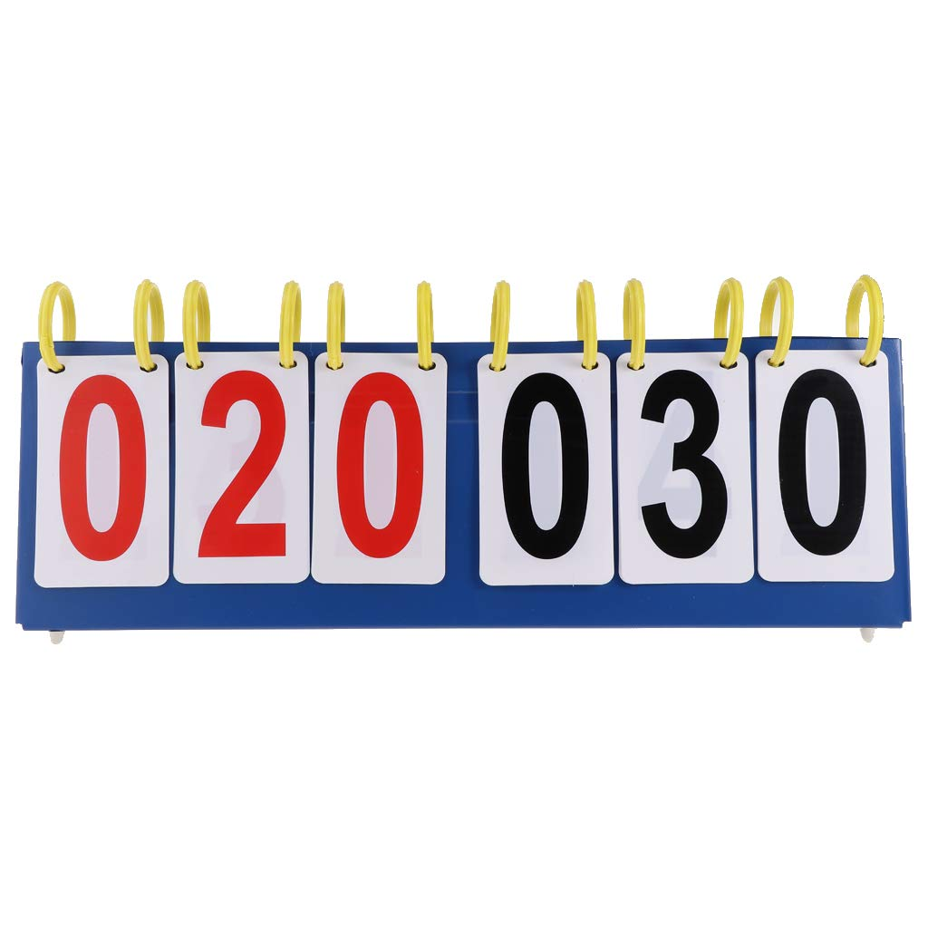 Prettyia Lightweight Sports Table Top Scoreboard Flip 99//999 Score Board with Red Black Plastic Number Cards