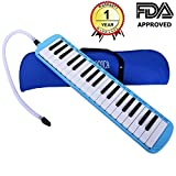 CAHAYA Melodica 37 Keys Pianica FDA Approved with Long Pipe Short Mouthpiece and Carrying Bag for Children Student Blue