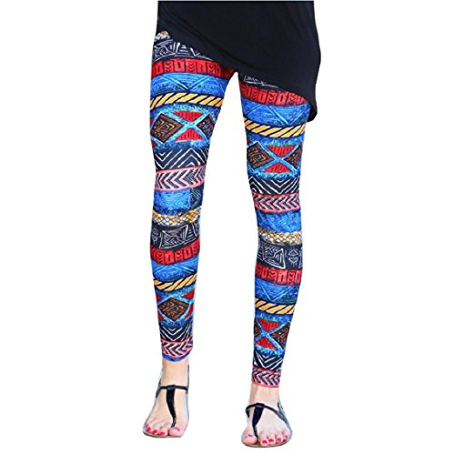 [Lookatool Women Fashion Women Skinny Tribal Printed Stretchy Pants Leggings (S, Blue 1)] (Cute Santa Outfits)