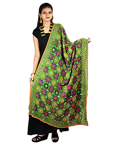 Indian Dupatta Long Scarf Phulkari Embroidered Georgette Fabric Hijab Neck Wrap Stole For Women by Stylob
