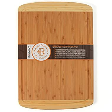 Bambüsi by Belmint ORGANIC Bamboo Extra Large Cutting Board with Groove | FDA Compliant with Money Back Guarantee!