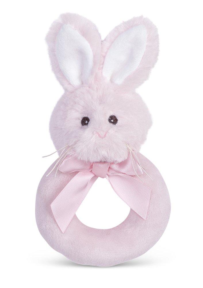 Bearington Baby Lil Bunny Pink Plush Stuffed Animal Soft Ring Rattle 5.5 5.5 Bearington Collection 197100