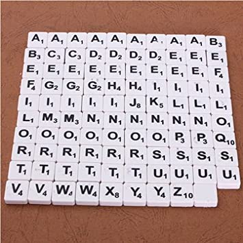 BLACK PLASTIC SCRABBLE TILE LETTERS GAME PIECES WITH WHITE LETTERS