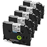 Anycolor 5 Pack Compatible Brother P-touch TZe Label Tape TZe-131 TZ-131 1/2 Inch Black on Clear Laminated Label Tape for Brother P Touch Labeler PT-D210 PT-H110 PT-D400AD PT-P900W PT-P950NW