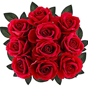 "Supla 10 Stems Artificial Roses Red with Stems Open Silk Roses Velvet Roses Wedding Roses in Red 20"" Tall X 4"" Bloom for Floral Arrangement Home Accent 28"