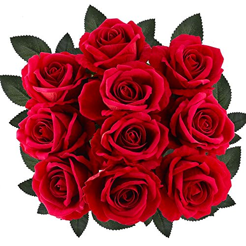 Supla 10 Pcs Artificial Roses Red with Stems Open Silk Roses Velvet Roses Wedding Roses in Red 20