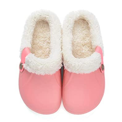 a8ad79a41e Clogs Shoes Fur Lined Slippers Winter Breathable Indoor Outdoor Walking Warm  Non-Slip House Shoes