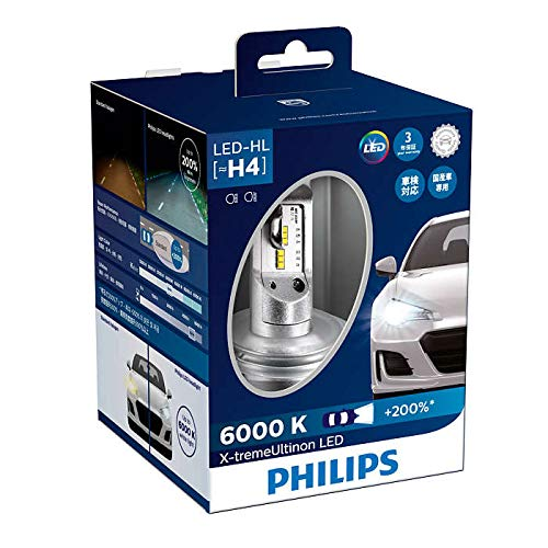 (Philips X-tremeUltinon LED H4 Brighter White Stronger LED Bulbs Set of 2x Bulbs 6000K +200% 12953BWX2)