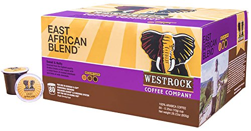 Westrock Coffee Company East African Blend Best Medium Dark Roast Gourmet Single Serve Cups 80 Count