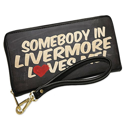 Wallet Clutch Somebody in Livermore Loves me, California with Removable Wristlet Strap Neonblond