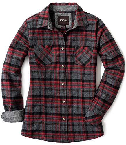 CQR CLSL Women's Plaid Flannel Shirt Long