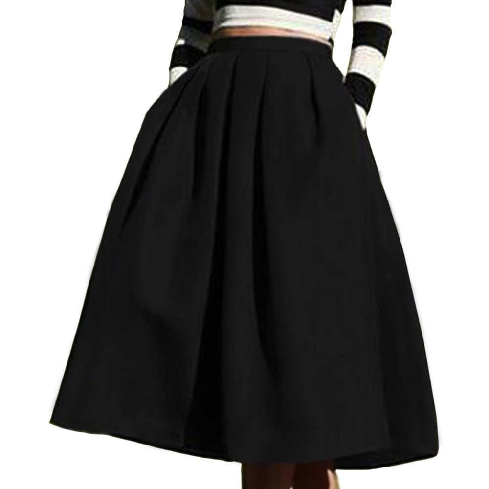 17a741e0c852 Yige Women s High Waisted A line Skirt Skater Pleated Full Midi Skirt at  Amazon Women s Clothing store