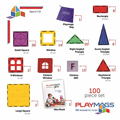 Playmags 100 Piece Super Set: With Strongest Magnets Guaranteed, Sturdy, Super Durable with Vivid Clear Color Tiles. 18-piece Clickins Accessories to Enhance your Creativity by Playmags (Image #4)