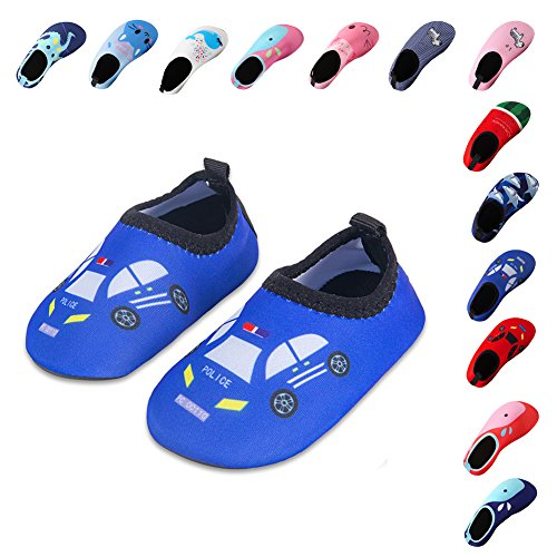 Blue Water Swimming - Lauwodun Baby Boys Girls Water Shoes Barefoot Aqua Sock Shoes for Beach Pool Surfing Yoga Swimming Walking-Blue Car2223