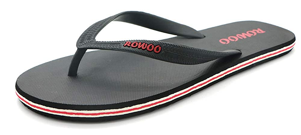 72907b884ece Amazon.com  Men s Beach Flip Flops Rubber Flat Sandals  Shoes