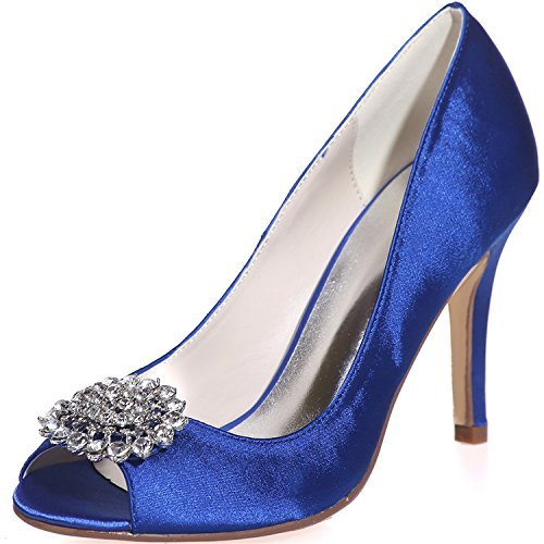 Wedding 7 Party Uk Blue Size Heels Glitter Girls Toe Uk Bridal 17 For Women Peep Evening Pumps Shoe Szxf5623 Sarahbridal Shoes 4 5 With Satin Rhinestone vFwqxC