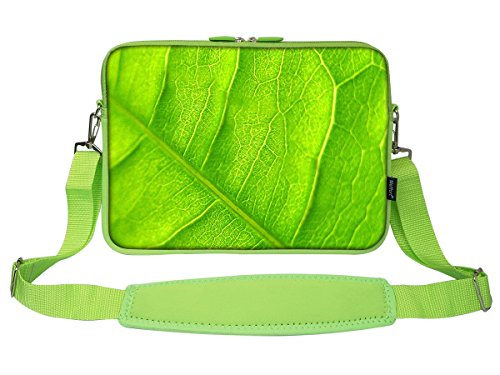 Sleeve Laptop Leaf Green (Meffort Inc 15 15.6 Inch Green Color Matching Neoprene Laptop Bag Ultrabook Carrying Sleeve with Hidden Handle and Shoulder Strap - Leaf)