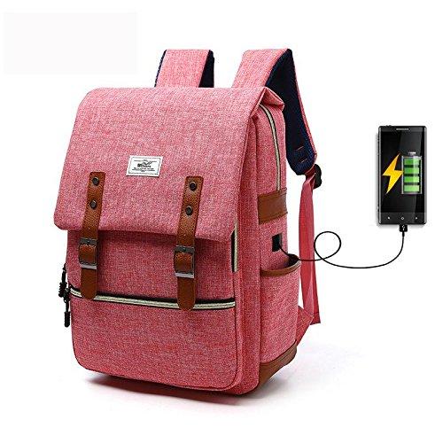 Canvas Rucksack Laptop Rucksack Outdoor-Reisen Rucksack Mit USB-Ladeanschluss watermelon red