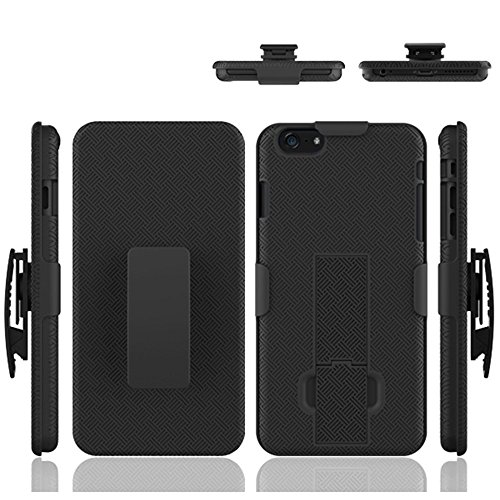 iPhone 6S/6 Plus Case, HLCT Combo Slim Shell Holster Case w/Built-in Stand Kickstand + Swivel Belt Clip Holster for Apple iPhone 6S/6 Plus (Black)