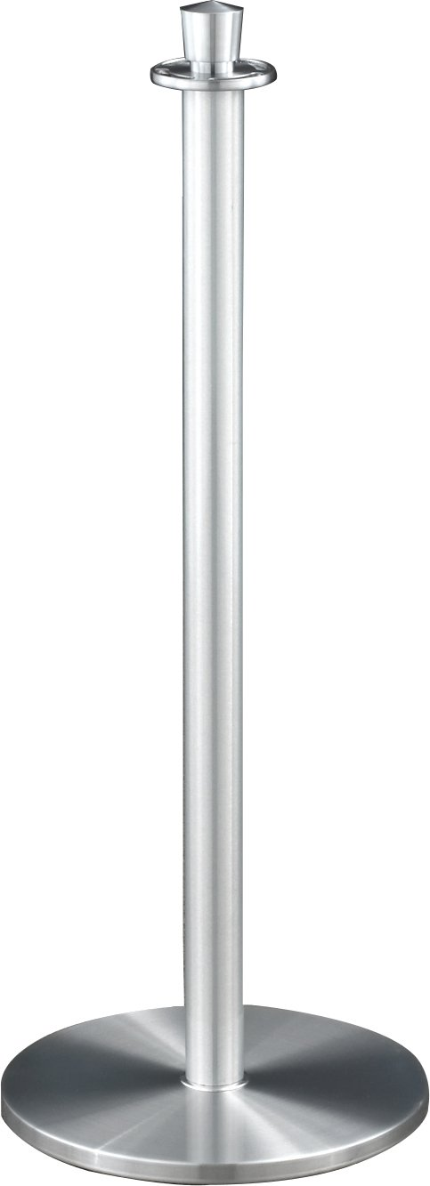 Glaro 1327SA-P3BLACKSA4 Crown Top Stanchion - Satin Aluminum finish - 4' Black Faux Leather Rope Included by Glaro