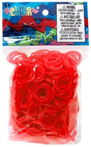 Official Rainbow Loom 600 Ct. Rubber Band Refill Pack *JELLY* RED [Includes 25 C-Clips!]