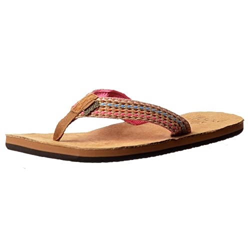 5be962863f8be REEF Womens Gypsylove Flip Flops - Soft Suede Leather Footbed - Pink, Teal,  Purple