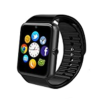 DEBBIECTY MSRM Smart Watch Phone 1.54 Inch Phone Syc Support Android 4.2 or abouve and iPhone5s/6/6s/7/7s (Black)