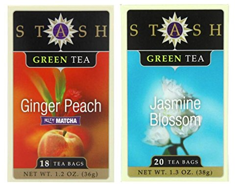 Blossom Peach Tea White (Stash Flavored Green Teas 2 Flavor Variety Bundle: (1) Stash Ginger Peach Green Tea with Matcha, and (1) Stash Jasmine Blossom GreenTea 1.2-1.3 Oz. Ea. (2 Boxes))