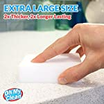 (20 Pack) Extra Large Magic Cleaning Eraser Sponge - 2X Thick, 2X Longer Lasting Melamine Sponges in Bulk - Multi Surface Power Scrubber Foam Pads - Bathtub, Floor, Baseboard, Bathroom, Wall Cleaner 13 WHILE SOME OTHER ERASER SPONGES are too small, don't work, or simply fall apart, we raised the bar and designed our eraser sponges to be extra thick for long lasting cleaning power. With premium quality melamine foam and incredible density, Oh My Clean eraser sponges easily lift away scuffs and grime, every time. JUST ADD WATER TO ERASE - Put away that smelly bleach. Say no to abrasive, corrosive chemicals. Grab the gentle and effective cleaning alternative. Simply wet with water, squeeze and wipe, letting the eraser do the work. It's that easy. TRUSTED BY PROFESSIONAL CLEANERS - Whether you have an occasional mark or a large cleaning company, you will enjoy the incredible value of our eraser bulk packs. Why spend a fortune on sponges? Stock up, save, and be prepared for any cleaning job.