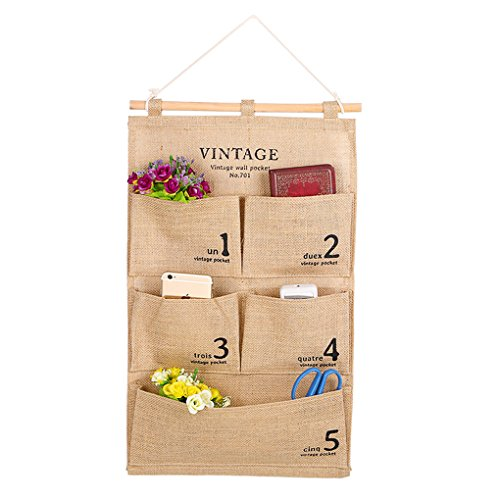 Linen/Cotton Fabric Over Wall Door Closet Window Hanging Storage Case Organizer Bag Large 4 Pockets Hanger Tidy Holder Rack Closet System (Khaki)
