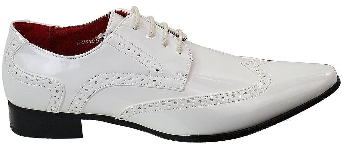 Et Chaussures Richelieu Blanc En Homme Simili Cuir Verni Rossellini xXqdgpg