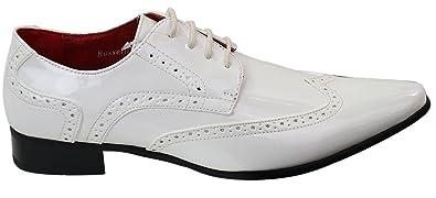 59cb8773aa Rossellini Herrenschuhe Weiß Leder Optik Italienisches Design Loch Muster  Lederfutter