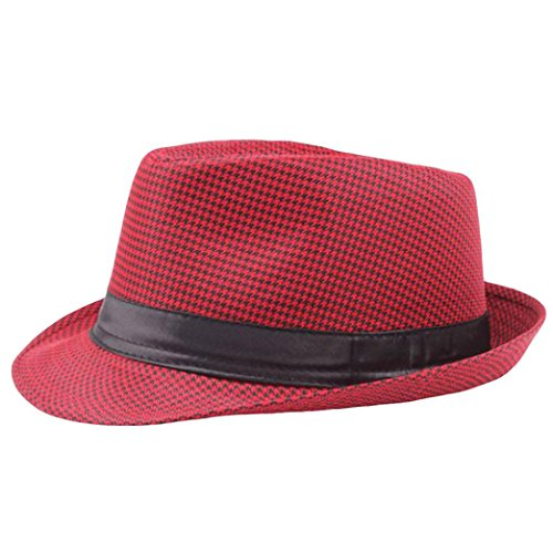 Summer Panama Straw Fedora Hat for Women and Men, Cleanrance! Iuhan Unisex Trilby Gangster Cap Beach Sun Wide Brim Straw Hat Band Sunhat (Red)